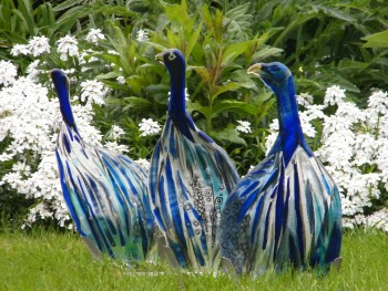 Fused glass guineafowls