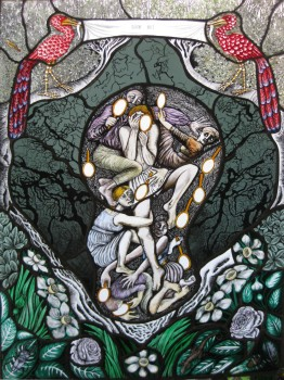 Look Out, stained glass, 2014 (90cm x 50cm