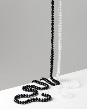 Recycled black and frosted white glass bead necklace. 1.5kg/ 1600mm doubled
