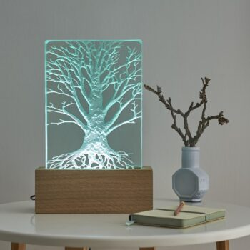 sandblast engraved 20mm thick glass mounted in oak with LED lighting. 300mm tall.