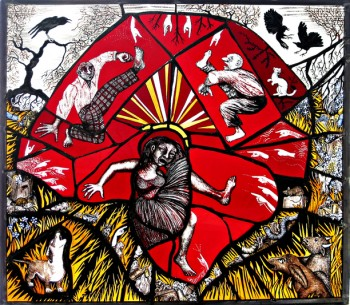 Landfill Tantrum stained glass panel