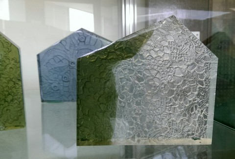 Cast glass blocks in clear, green and blue